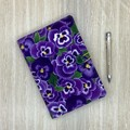 Purple pansies A5 Fabric Notebook Cover / Compendium