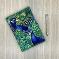 Peacocks A5 Fabric Notebook Cover / Compendium