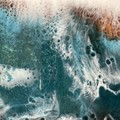 Ocean inspired resin coated serving, chopping board 56 cm x 26 x 2 cm