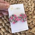 Recycled Pink Blue Silver Glitter Stud Earrings | Ecofriendly