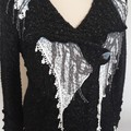 Upcycled layered Cardi with lace scarfs & large lace doilie, ornate buttons
