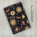 Celestial Moon and sun A5 Fabric Notebook Cover / Compendium