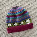 Dark Red sheep Beanie - to fit size 4-8 years -hand knitted