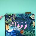 Cotton Fabric Jungle Botanical Zip Pouch / Cosmetic Zip Pouch / Pencil Case