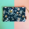 Cotton Fabric Bushland Zip Pouch / Cosmetic Zip Pouch / Pencil Case