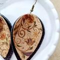 VEGAN, Faux Leather / Cork Boho Earrings, Brown, Floral