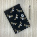 Metallic Bees A5 Fabric Notebook Cover / Compendium