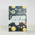 Planets and Space Birthday Card, Space Themed Birthday