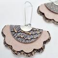 VEGAN, Recycled Cork, Scalloped Fan Earrings, Embossed Snakeskin Pink