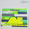 Dinosaur Birthday Card - Stegosaurus with striped wall