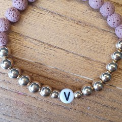 Personalised Name Stretch Bracelet > Lava Rock, Howlite, Electroplated Hematite