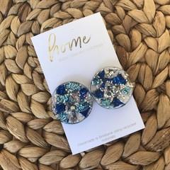 Recycled Blue Aqua Silver Glitter Acrylic Stud Earrings   Ecofriendly