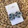 Recycled Blue Aqua Silver Glitter Acrylic Stud Earrings | Ecofriendly