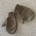 Brown Mittens Size 3-4 years - hand knitted