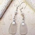 Seaglass  Earrings  - Pearly Mist