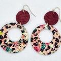 Genuine Leather / Cork Circle Hoop Earrings, Burgundy, Floral / Leopard