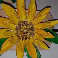 Leather Yellow flower design Barrette/ hair slide