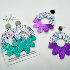 Genuine Leather/ Cork, Arched Flower Stud Earrings, Aqua, Purple