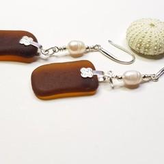 Seaglass  Earrings  - Mahogany Pearl
