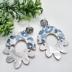 Genuine Leather/ Cork, Arched Flower Stud Earrings, Silver / Blue Leopard