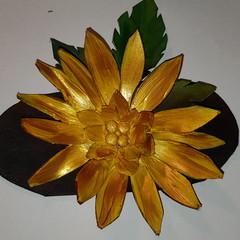 Leather handmade flower barrette/hair slide