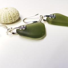 Seaglass  Earrings  - Winter Olive