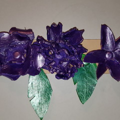 Leather flower head band or hatband