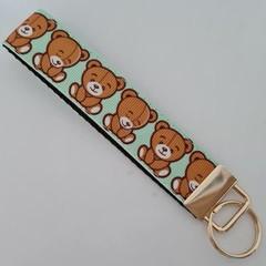 Cute teddy bear key fob wristlet