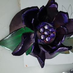 Leather rose design barrette/hair slide