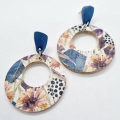 Genuine Leather / Cork Circle Hoop Stud Earrings, Blue Floral