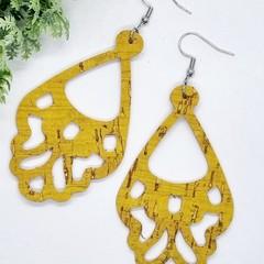 Genuine Leatherr /  Cork, Boho Chandelier Earrings, Mustard