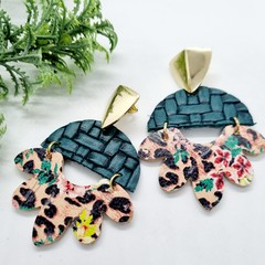 Genuine Leather/ Cork, Arched Flower Stud Earrings, Green /  Floral Leopard