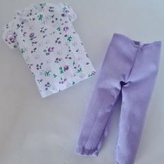 Barbie doll clothes - purple 3/4 pants and floral top set