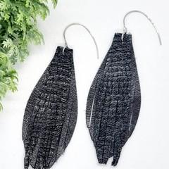Genuine Leather, Fringed Earrings, Black