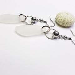 Seaglass  Earrings  - Steely White