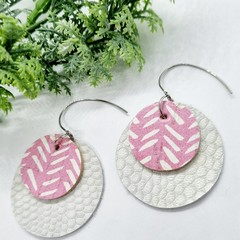 Genuine Leather / Cork Circle Earrings, White / Pink