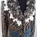 Upcycled Cardi natural colours, lace trim  & denim pockets, pure wool  Size 12