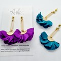 VEGAN, Fabric. Fanned Floral Stud Earrings, Gold / Turquoise, Purple