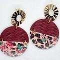 Genuine Leather / Cork Circle Stud Earrings, Burgundy, Floral / Leopard