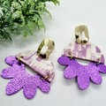 Genuine Leather/ Cork, Arched Flower Stud Earrings, Purple/ Gold