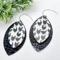 Genuine Leather / Cork Leaf Earrings, Black / White Chicken Print