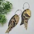 Genuine Leather, Feather Hoop Earrings, Gold / Black Leopard