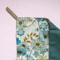 Blue Vintage Floral Linen Tea Towel