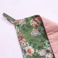 Green Vintage Floral Linen Tea Towel