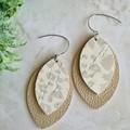 Genuine Leather / Cork Leaf Earrings, Nude Leopard Print
