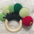 Angry Cartepillar rattle toy, organic wood chewy baby toys, baby first toy