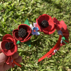 Flower Crown Headband- Red Poppy & Forget-Me-Not
