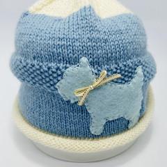 Sky blue baby beanie with dog, baby boy, baby girl beanie, hand knit baby hat, b