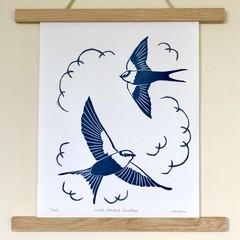 White-backed Swallow Original Lino Cut Print / Australian Bird