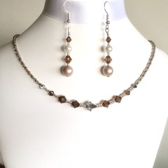 Swarovski Pearl Earring & Crystal Necklace Set: Lana & L'Argent